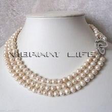 """Цена^ 17-1"""" 6-8 мм 3 ряда белый пресноводный жемчуг ожерелье натуральный цвет"""
