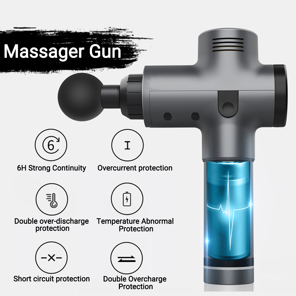 LED Touch Screen Muscle Massage Gun 3600r min Body Massager Electric Vibrating Therapy Guns Relax Muscle Massager With 4 Heads in Massage Relaxation from Beauty Health