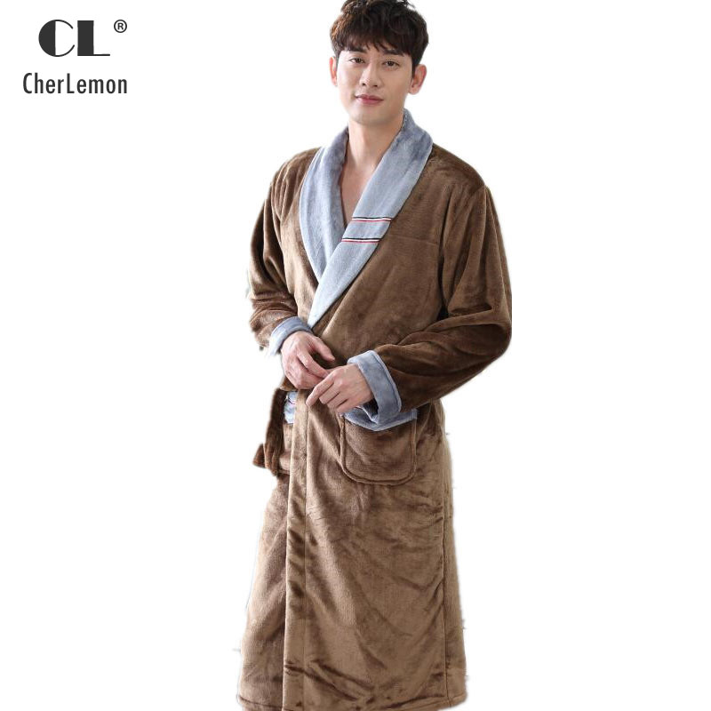 c832a713ae CherLemon Mens Plush Soft Warm Coral Fleece Spa Bathrobe Luxury Flannel  Male Kimono Lounge Robe Winter Super Soft Home Clothing-in Robes from  Underwear ...