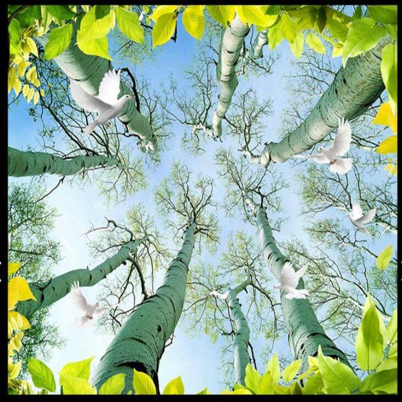 Grand papier peint mural 3d personnalisé arbres feuilles oiseaux fonds d'écran salon chambre mode plafond papier peint