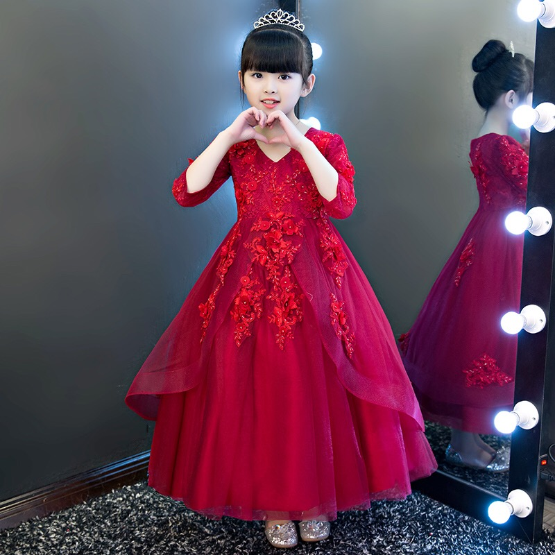 New Wine Red Ball Gown Girls Party Dress Elegant Lace Embroidery Sweet Kids Girls Dress Flowers Girls Dress For Wedding Birthday girls embroidery detail contrast lace hem dress
