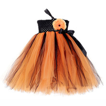 Orange Black Pumpkin Halloween Witch Girl Dresses Kids Long Dress for Girls Clothes Christmas Autumn Tutu Gown