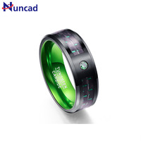 Nuncad New Arrival T045R 8MM Wide 3 0MM Thick Green Tungsten Steel Ring For Engaged Jewelry