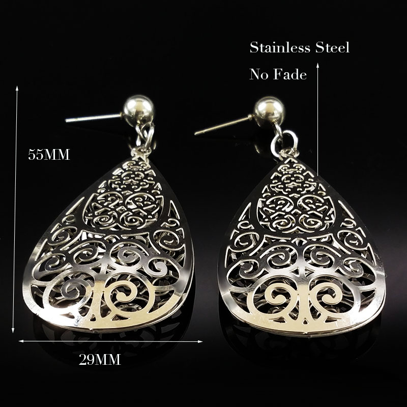 2020 Fashion Silver Color Long Stainless Steel Earrings for Women Hollow Flower Stud Earrings Jewelry pendientes largos E612219