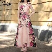 Ruiyige 2017 Women Elegant Vintage Flower Floral Printed Chiffon Long Dress Vestidos Casual Party Retro Boho