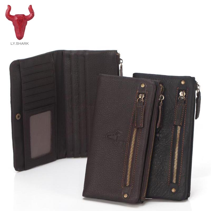 LY.SHARK Genuine Leather Men Wallets men Purse Long Male Card Holder designer top male Clutch Walet phone Coin Purse Money Bag bvp luxury brand weave plain top grain cowhide leather designer daily men long wallets purse money organizer j50
