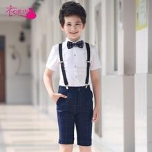 Детский синий костюм с короткими рукавами, новые свадебные костюмы для мальчиков, Детские смокинги для жениха, 2 предмета