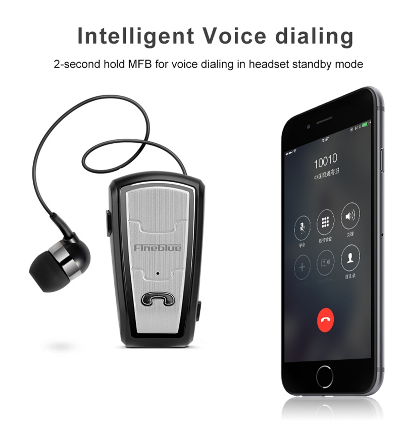 Original FineBlue FQ208 Clip-on Bluetooth Headset Anti-lost Retractable Wireless Earphone Clip Handsfree Headphone With Micr (31)