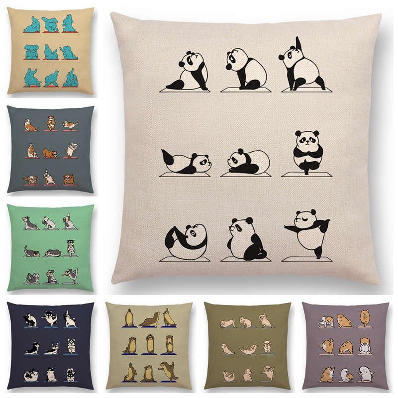 Newest Animals Yoga Funny Cartoon Prints Cushion Cover Alpaca Bunny Dachshund Bull Terrier Hippo Dogs Panda Sofa Pillow Case