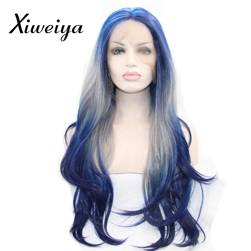 Xiweiya Heat resistant synthetic lace front wig for women ombre blue gray to blue nature straight half hand tied soft long wig