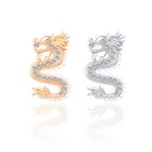 New Creative Chinese Style Vintage 12 Zodiac Dragon Rhinestone Brooch for Women Collar Needle Gold Silver Animal Badge