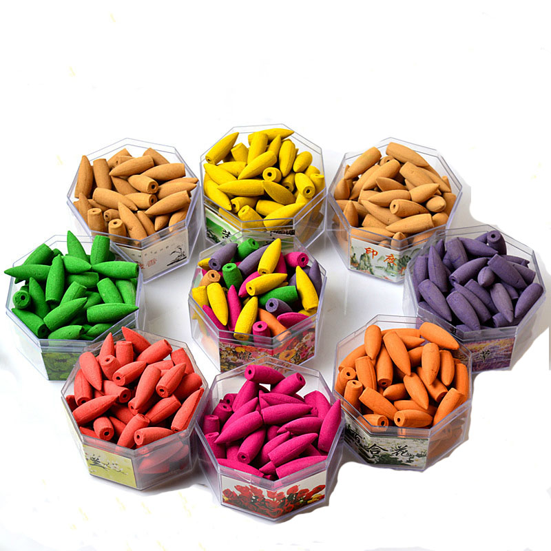 Free shipping 70pcs/box Backflow Incense Cones Oversized 9 Smell Tower Incenses for Ceramic Burners Buddha Supplies in box
