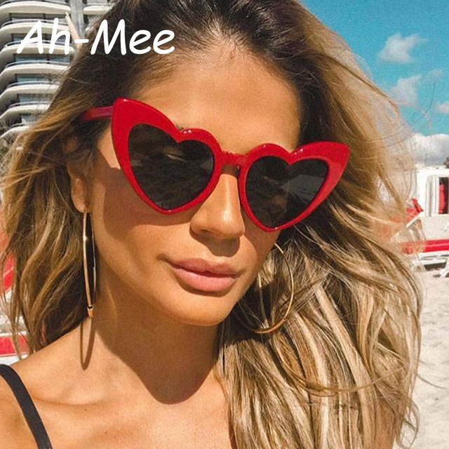 9923bb4014 Heart Shaped Sunglasses Women Cat Eye Women Sun Glasses Luxury Brand Retro  Love Black Red Eyewear Female Oversize Shade