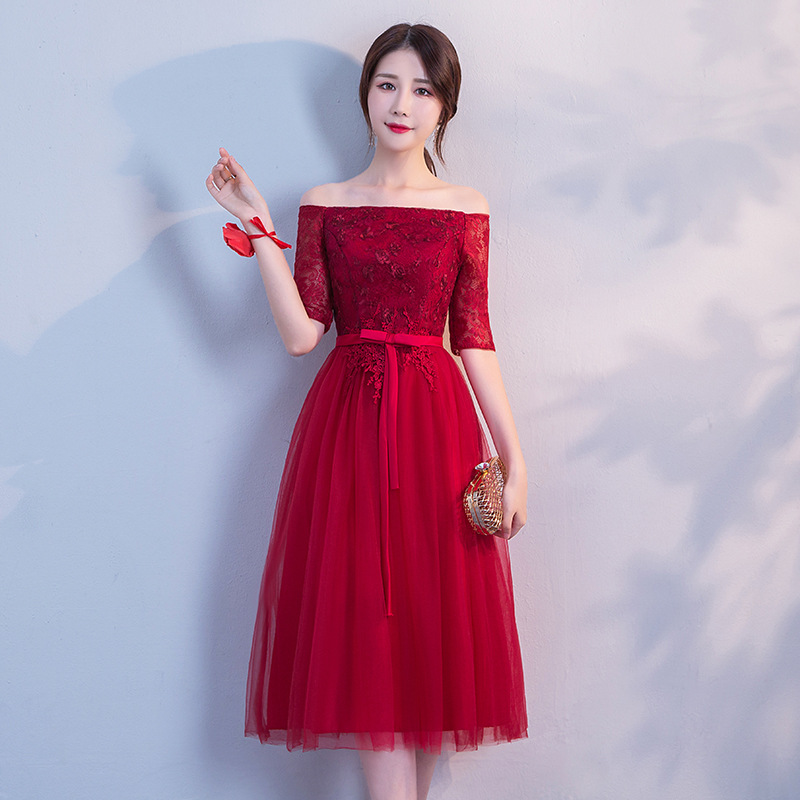 Robe Demoiselle D'honneur Lace Appliques   Bridesmaid     Dresses   Off The Shoulder Elegant A Line Party Gowns Vestidos De Festa