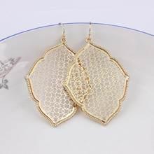 2018 Big Gold Filigree Monogram Statement Earrings for Women Fashion Zinc  Alloy Large Clover Water Drop Earrings Wholesale 3a3c225fe187