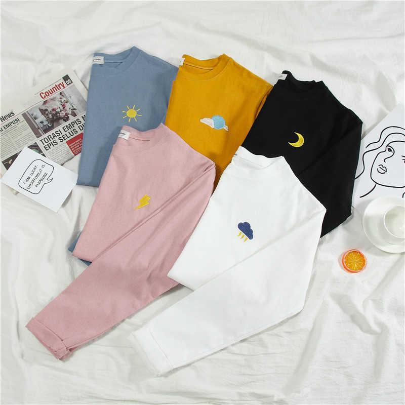 Harajuku เย็บปักถักร้อยการ์ตูน T เสื้อฤดูใบไม้ร่วงแขนยาวลำลองหลวม TShirt เกาหลี ulzzang ผู้หญิงเสื้อยืดลาย Pink Tops