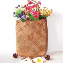 Beach Style Hand Woven Large Rattan Straw Bag Flower Basket Storage Tote Shoulder Bags Braided For Women Female Girl Handbag