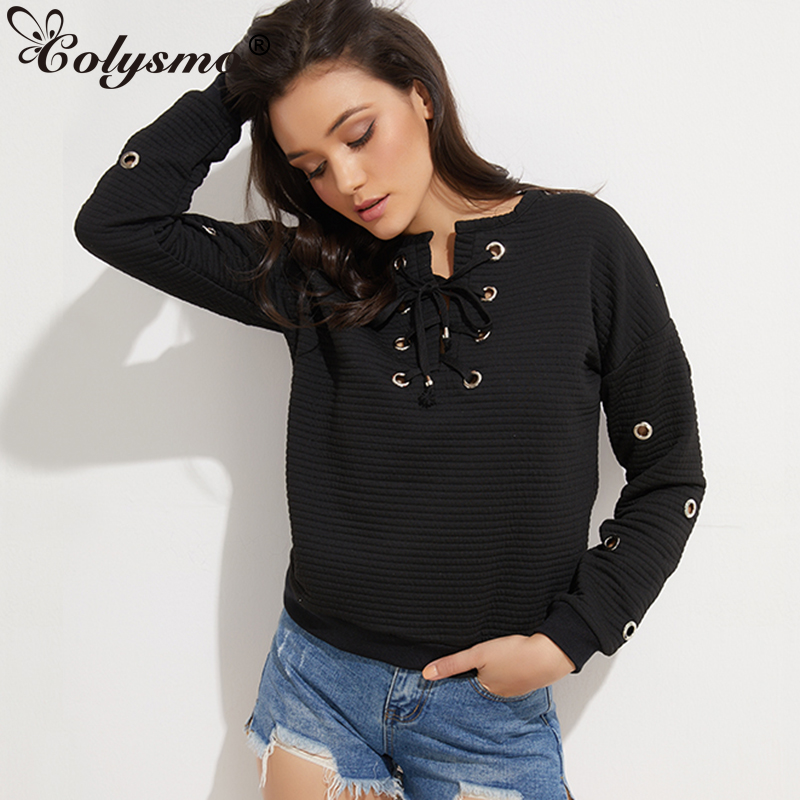 Colysmo Winter Women Lace Up Sweatshirt Cotton Knitted Hoodies Autumn Pullover Ladies Hollow Out Long Sleeve