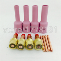 12PCS Welding Accessories TIG Gas Lens KIT And Collets Long Alumina Nozzle Fit TIG Welding Torch
