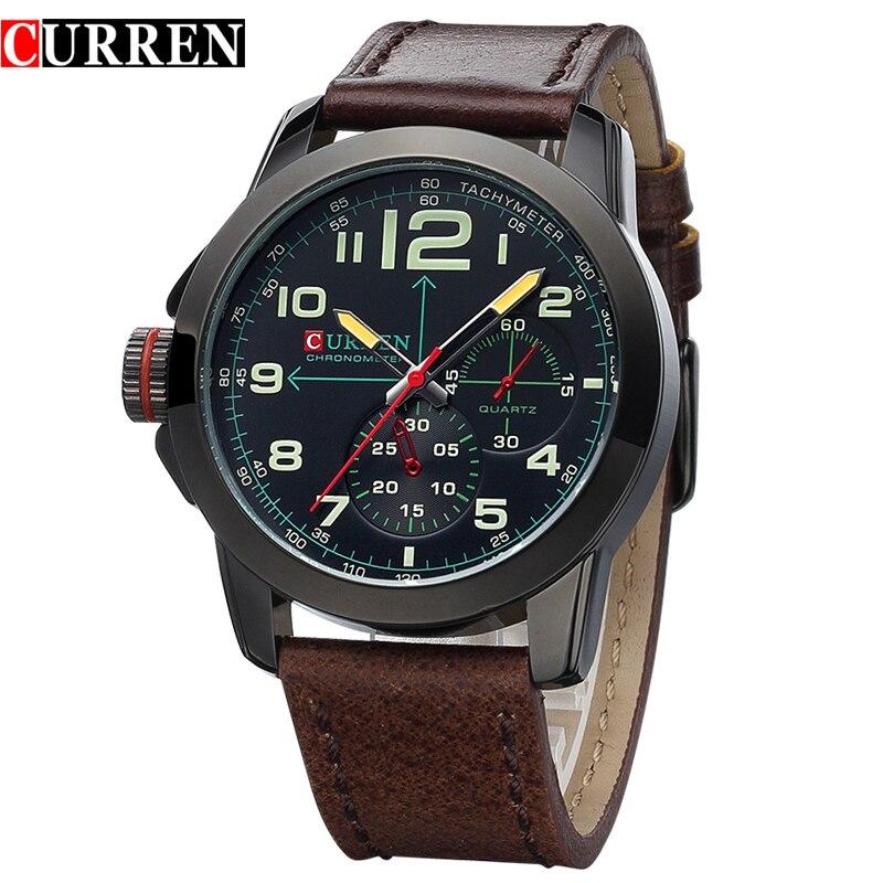 Marca Curren hombres moda casual reloj masculino reloj de cuarzo deporte grueso cuero negocio