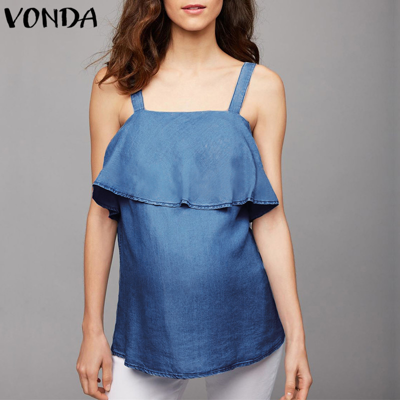 VONDA Maternity Clothes 2018 Summer Women Denim Shirts Female Casual Loose Sleeveless Blouse Tops Cotton Pregnant Tees Plus Size