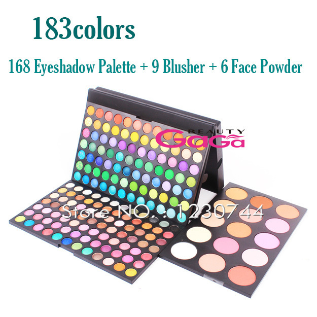 183 Colors Makeup Palette 168Colors Matte & Shimmer Eyeshadow Palette + 9 Blusher + 6 Face Powder Cosmetic Kit Makeup Set