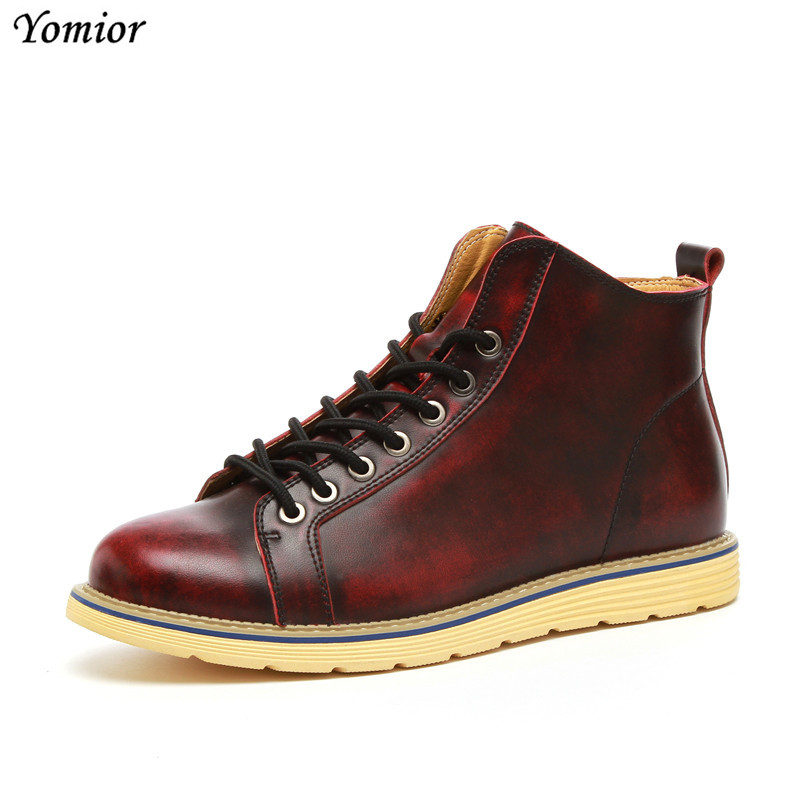 Yomior Real Leather Men Boots Spring Autumn Man Fashion Casual Ankle Boot Men Outdoor Work Plus Size 38-47 Boy Friend Boots men spring autumn full grain leather ankle boots lace up fashion casual real leather men boots 20170107