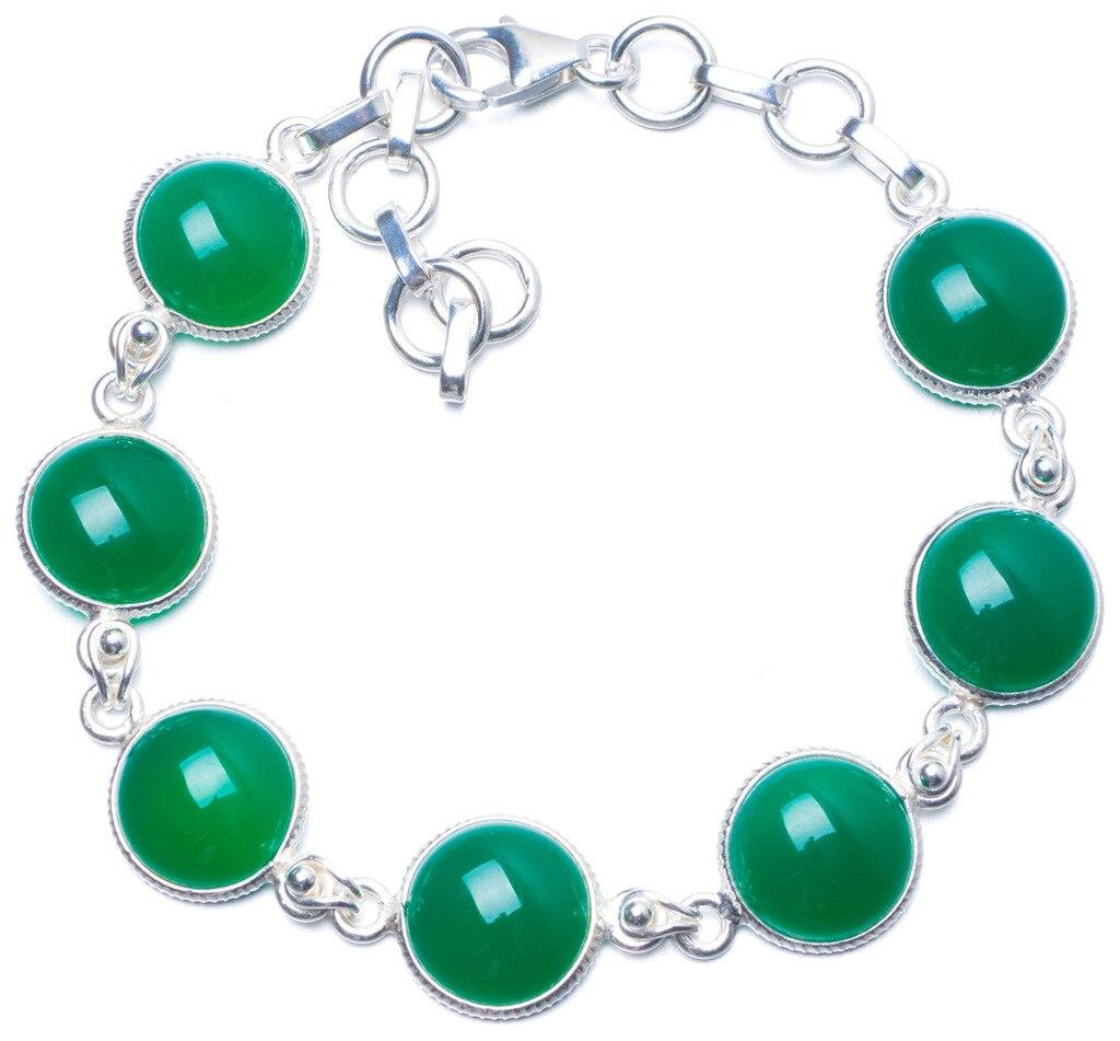 Natural Chrysoprase Handmade Unique 925 Sterling Silver Bracelet 7-8 1/4