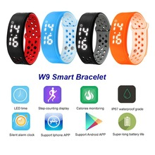 2016 Waterproof Smart Wristband W9 Pedometer Sleep Health Monitor LED Time Display Smart Bracelet Burned Flex Fitness Band IP67