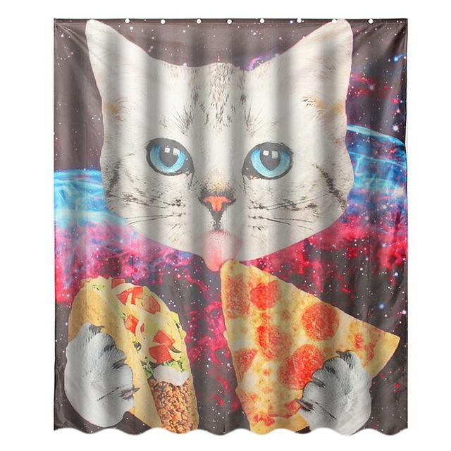 NEW!!!Custom Space Nebula Universe Cat Eat Pizza Bathroom Shower ...