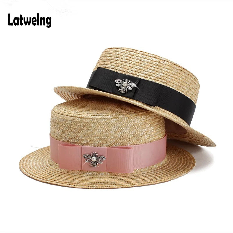 Luxury Brand Women And Children Straw Sun Hats Fashion Bee Sun Summer Hat For Girls Lady Handmade Flat Panama Beach Hat Party