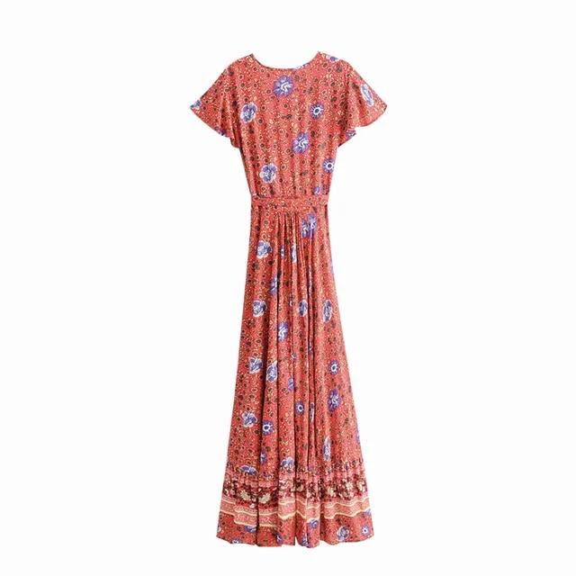 Boho Summer Vintage Floral Print Sashes Wrap Long Dress Women 2019 Fashion V Neck Short Sleeve Beach Maxi Dresses Vestidos Mujer