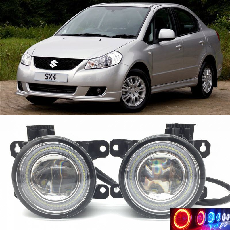 2 in 1 LED Angel Eyes DRL 3 Colors Daytime Running Lights Cut-Line Lens Fog Lamp for Suzuki SX4 2006-2009 SX4 S-Cross car styling 2 in 1 led angel eyes drl daytime running lights cut line lens fog lamp for land rover freelander lr2 2007 2014