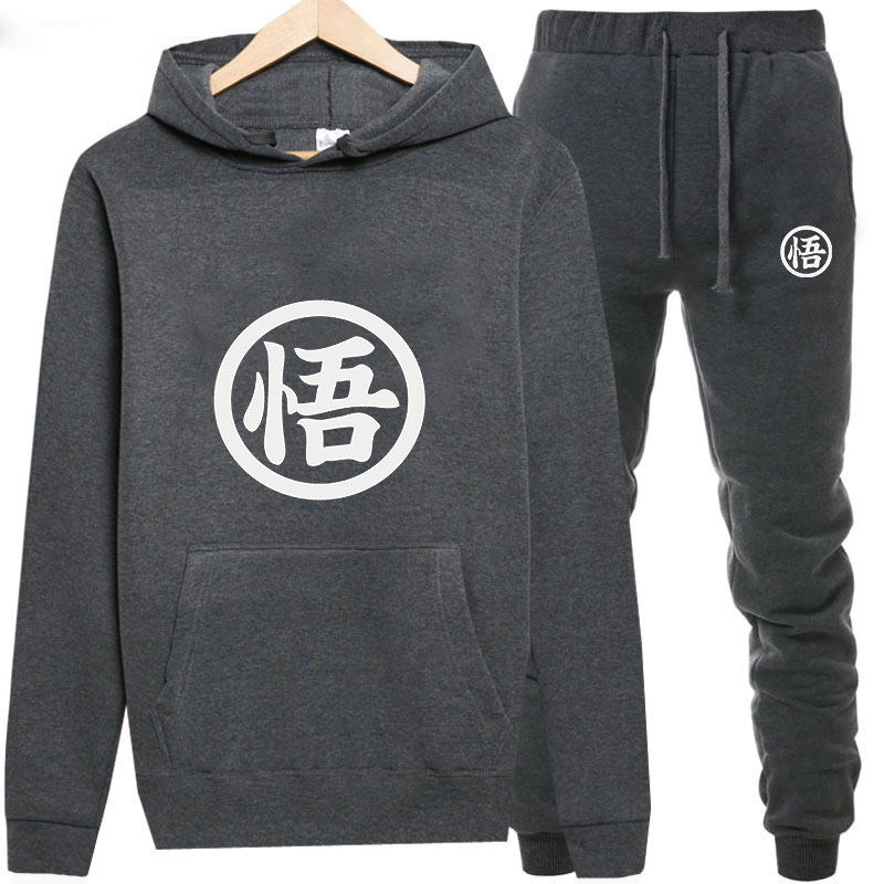 Sweatshirts+Sweatpants Suits Dragon Ball Print Hoodie Men/Women Pant Hoodies Spring Autumn Warm Fleece Hooded Pullover Outdoor