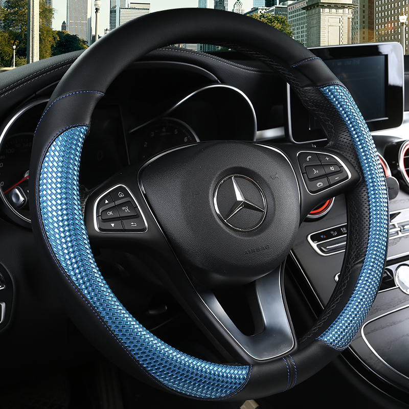 KKYSYELVA Car Steering Wheel Covers Universal 15 inch Leather Breathable Anti Slip Odor Free Auto Interior Accessories in Steering Covers from Automobiles Motorcycles