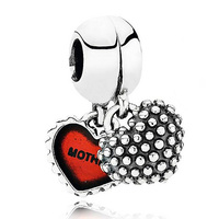 Authentic 925 Sterling Silver Bead Charm Red Enamel Piece Of My Heart Pendant Beads Fit Pandora