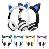 2017 nouveau mignon lueur chat oreille Casque pour filles Led chat oreilles Casque enfants lumineux jeu Casque avec lumières Casque Audio
