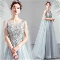 Large Size 5XL Luxury Gray Blue Prom Crystal Dress Custom Evening Formal Party Dress Cloak Sleeves For Women Plus Size 4XL 6XL