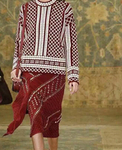 Runway Fashion 2015 Autumn Winter Round Neck Geometric Jacquard Embroidery Sweaters Wool Pullovers top