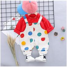 2019 Autumn New Baby Infant Clothes Suits Toddler Boys Girls Clothing Sets Shirt Dot Bib Pants Kids Children Costume Suit
