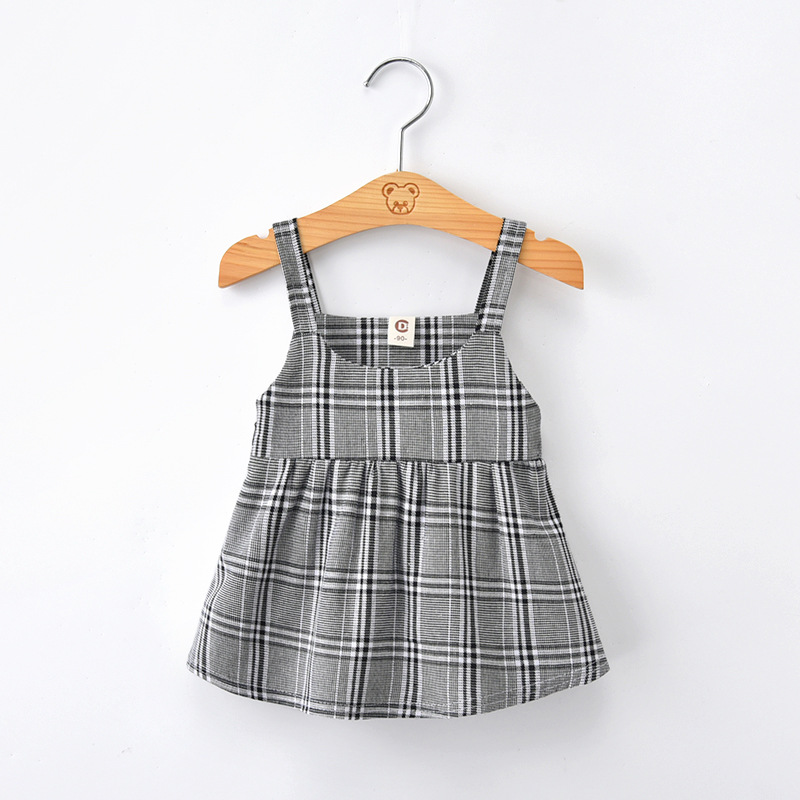 RUBU Baby Girls Sleeveless T Shirt 2018 Kids Plaid Girls Summer Tops Tees Outwear Clothing Toddle Children Clothes 2-6Y