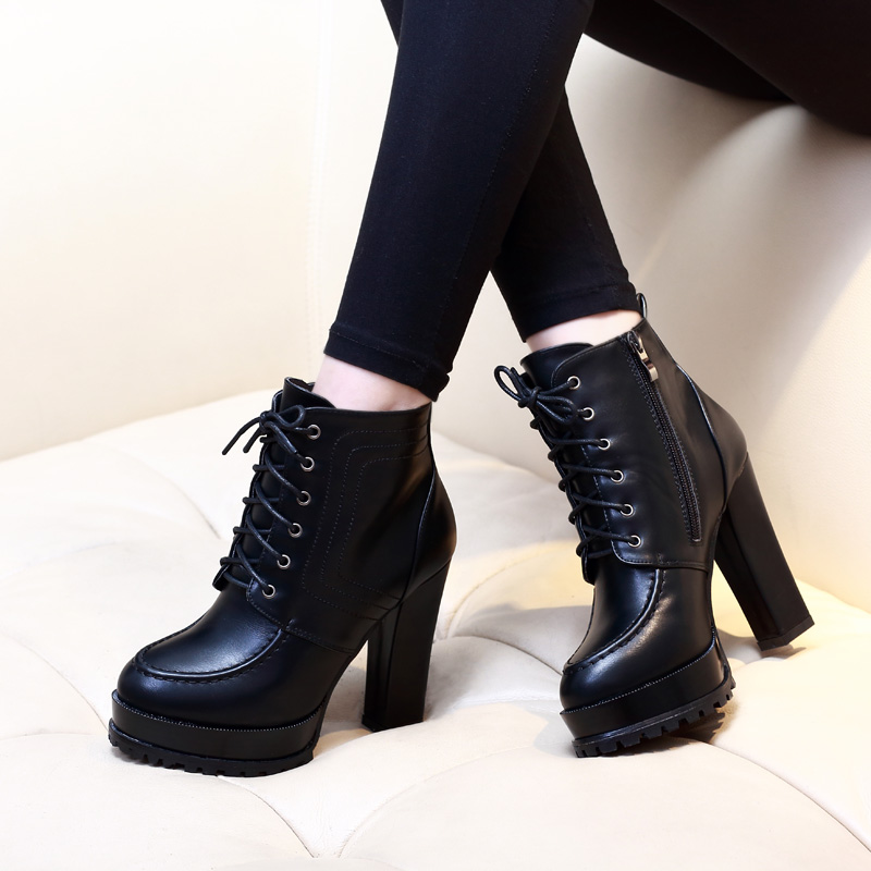 6dd212d08316 Women Ankle Boots Square High Heel Boots For Woman Fashion Zip Black Autumn  Winter Womens Lace
