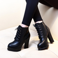 Women Ankle Boots Square High Heel Boots For Woman Fashion Zip Black Autumn Winter Womens Lace Up Platform Boots Shoes CH-B0024 недорого