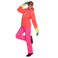 Модные однотонные Цвет зимняя ветровка Водонепроницаемый стеганая куртка Брюки для девочек Для женщин костюмы для снежной погоды Теплые к