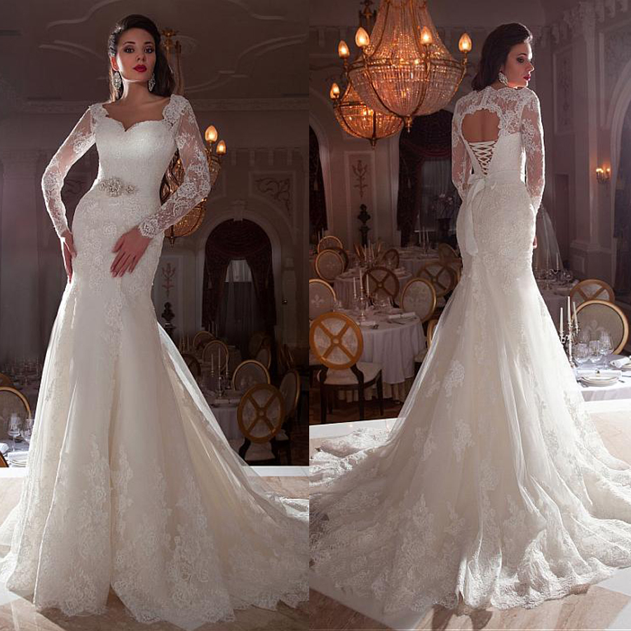 Gorgeous Tulle Queen Anne Neckline Mermaid Wedding Dresses With Lace Appliques 3/4 Sleeves Bridal Gowns With Beading Sash