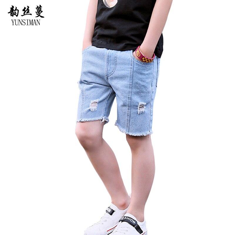 e9cd8450b Garçon Denim Shorts D été Grand Garçon Mince Jeans Pantalon 2018 Nouveau  Enfant Jeans Shorts Occasionnels 5 6 7 8 9 10 11 12 ans Enfants Vêtements  9C04 dans ...