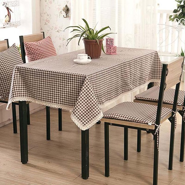 Exceptionnel Rural Plaid/lattice Table Cloth Red Brown Table Cover Cotton Linen  Dustproof Tablecloth Dining Table