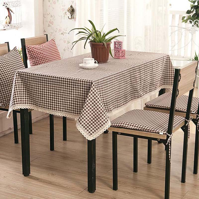 Rural Plaid/lattice Table Cloth Red Brown Table Cover Cotton Linen  Dustproof Tablecloth Dining Table