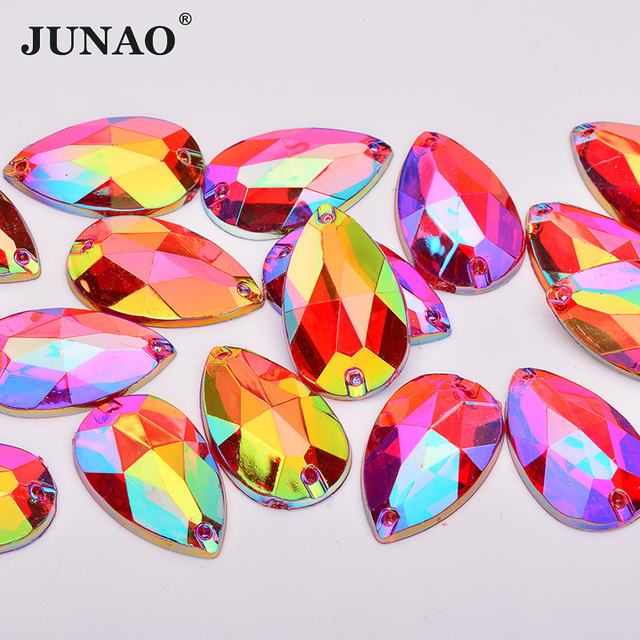 JUNAO 17 28mm Sewing Red AB Crystals Big Drop Rhinestones Flatback Acrylic  Gems Sew On Stones Large Strass Crystal Applique 97b8a3e3de64