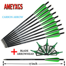 12pcs Archery Carbon Arrow 16/17inch Crossbow Hunting Arrows And 3 Blades Arrowhead For Bow Shooting Accessories